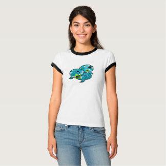 Camiseta Estrela do mar de néon que fala em bolhas bonitos