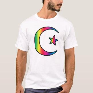 Camiseta Estrela e crescente islâmicos do arco-íris