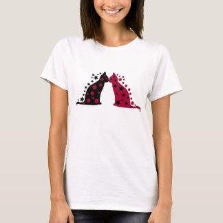 Camiseta Estrela & lua que beijam gatos