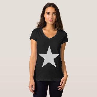 Camiseta Estrela (+w)/t-shirt do V-Pescoço do jérsei Bella
