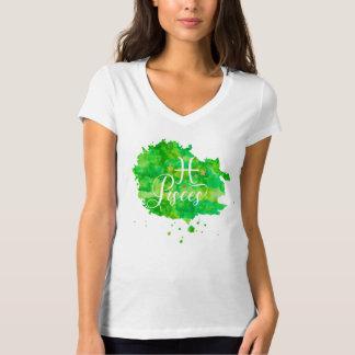 Camiseta Estrelas verdes do ouro da aguarela dos peixes do