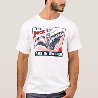 Camiseta Etiqueta sueco da caixa de fósforos do bastão