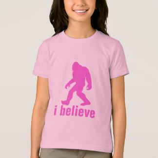 Camiseta eu acredito - a silhueta cor-de-rosa (distrssed)