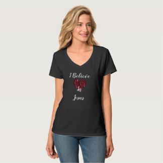 Camiseta Eu acredito no t-shirt das mulheres de Jesus