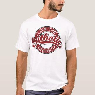 Camiseta Eu amo a igreja Católica no vermelho