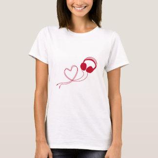Camiseta Eu amo a música, auscultadores com coração