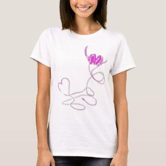 Camiseta Eu amo a música no Tshirt cor-de-rosa (T16)