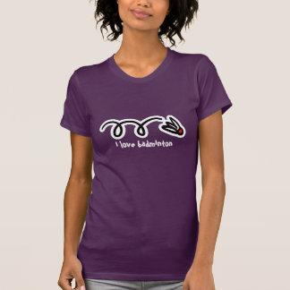 Camiseta eu amo a parte superior do badminton para mulheres