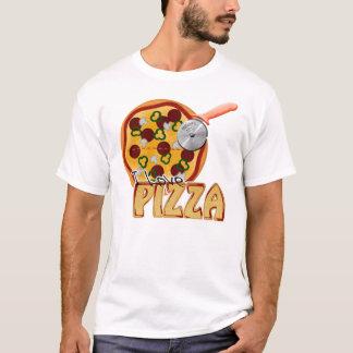 Camiseta Eu amo a pizza - t-shirt destruído