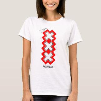 Camiseta Eu amo Amsterdão - símbolo das cruzes - Holland