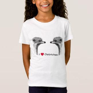 Camiseta Eu amo avestruzes (do coração): Desenho de lápis
