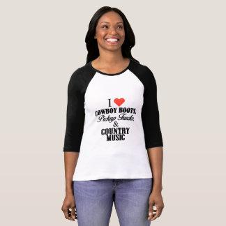 Camiseta Eu amo botas, camionetes & música country de