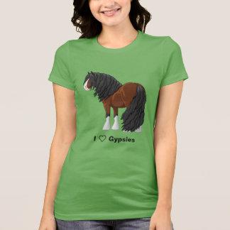 Camiseta Eu amo cavalos de esboço aciganados de Vanner da