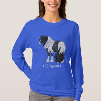 Camiseta Eu amo cavalos de esboço aciganados de Vanner do