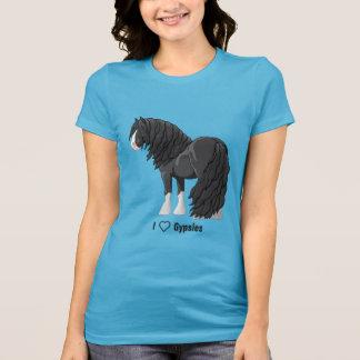Camiseta Eu amo cavalos de esboço aciganados pretos de