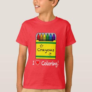 Camiseta Eu amo colorir com pastéis