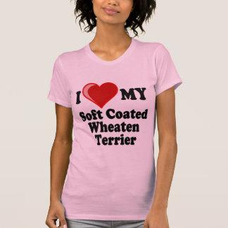 Camiseta Eu amo (coração) meu cão Wheaten revestido macio