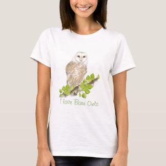 Camiseta Eu amo corujas de celeiro - pássaro