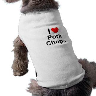 Camiseta Eu amo costeletas de carne de porco do coração