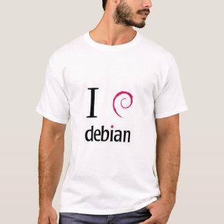 Camiseta Eu amo Debian