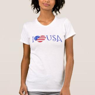 Camiseta Eu amo EUA o coração patriótico da bandeira