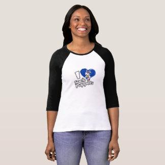 Camiseta Eu amo fantoches da peúga 3/4 de T da luva