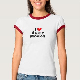 Camiseta Eu amo filmes assustadores do coração