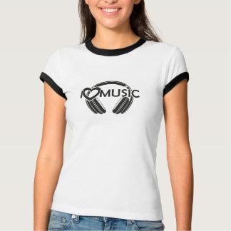 Camiseta Eu amo fones de ouvido da música
