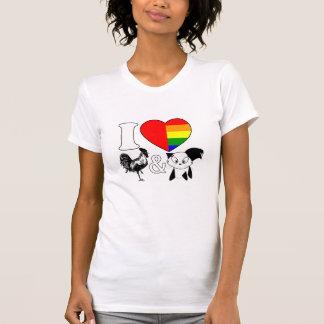 Camiseta Eu amo galos e gatos - meninas bissexuais da