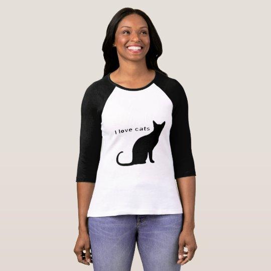 Camiseta eu amo gatos feminina