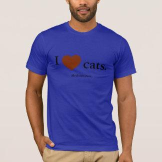 Camiseta Eu amo gatos. Raro médio