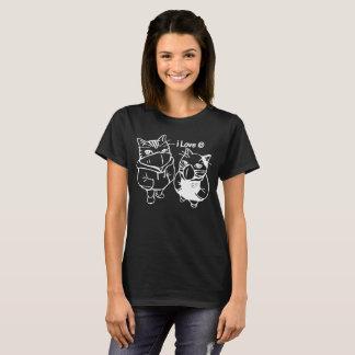 Camiseta Eu amo gatos tshirt engraçado Bonnie e de Clyde do