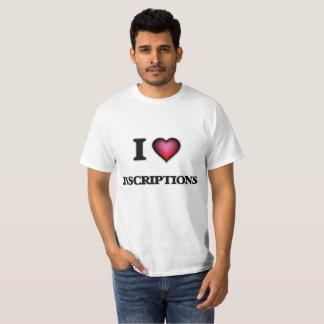 Camiseta Eu amo inscrição