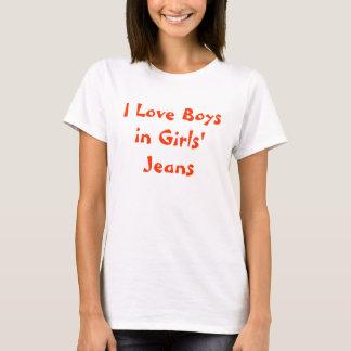 Camiseta Eu amo meninos nos jeans das meninas