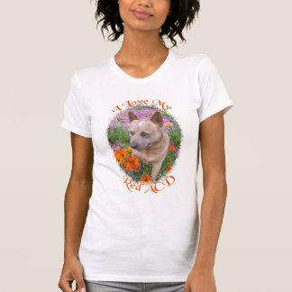 Camiseta Eu amo meu ACD vermelho (o cão australiano do