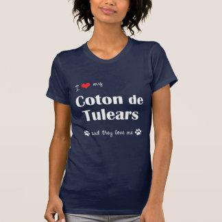 Camiseta Eu amo meu algodão de Tulears (os cães múltiplos)
