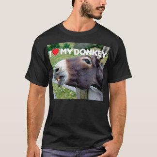 Camiseta Eu amo meu animal de fazenda engraçado da mula do