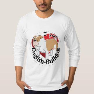 Camiseta Eu amo meu buldogue inglês engraçado & bonito