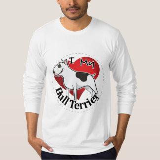 Camiseta Eu amo meu bull terrier engraçado & bonito