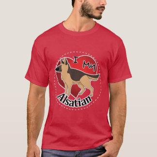 Camiseta Eu amo meu cão Alsatian engraçado & bonito