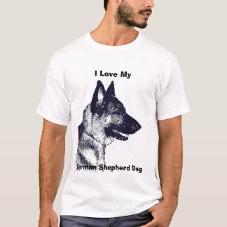 Camiseta Eu amo meu cão de german shepherd