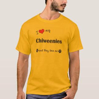 Camiseta Eu amo meu Chiweenies (os cães múltiplos)