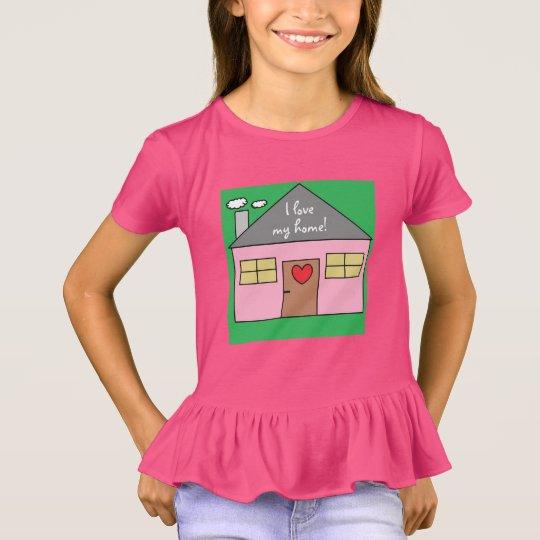 Camiseta Eu amo meu desenho cor-de-rosa adorável home da