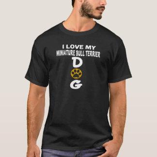 Camiseta Eu amo meu design diminuto do cão de bull terrier