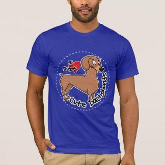 Camiseta Eu amo meu engraçado adorável feliz & o Dachshund