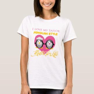 Camiseta Eu amo meu estilo do pinguim do marinheiro