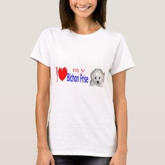 Camiseta Eu amo meu filhote de cachorro do frise do bichon