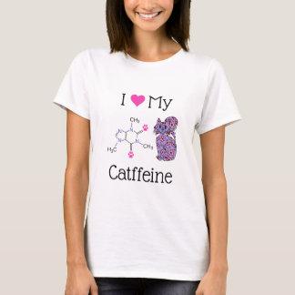 Camiseta Eu amo meu gato roxo bonito da cafeína de