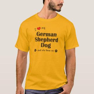 Camiseta Eu amo meu german shepherd (o cão fêmea)