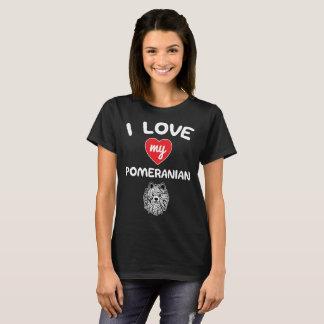 Camiseta Eu amo meu Pomeranian enfrento o t-shirt da arte